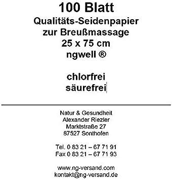 100/feuilles papier de soie pour th/érapie Dorn/ /breuss Massage