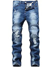 Men's Blue Skinny Ripped Destroyed Distressed Slim Fit Denim Jeans