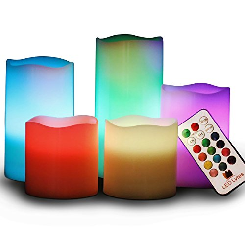 LED Lytes Flameless Candles Multicolor - Large Set of 5 Round Ivory Wax with Flickering Rotating Color Flame, auto-Off Timer Remote Control for Weddings and Gifts