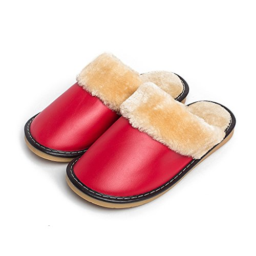 Slippers Home Women Leather Warm Indoor Shoes Comfy for Lined Red Fuzzy tSgXR