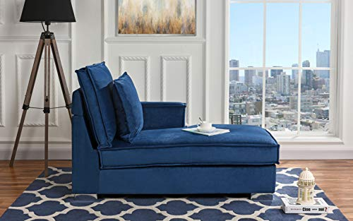 - Classic Living Room Velvet Chaise Lounge (Blue)