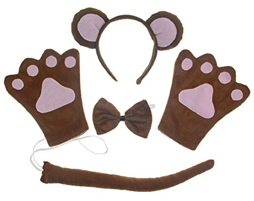 Monkey 4pc Children Costume Kids Cosplay Headband Bowtie Tail Gloves]()