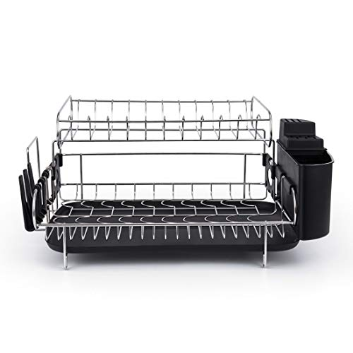 2 Tier Dish Rack, 304 Stainless Steel, Large Capacity, Drainboard Holder Drainer, Removable compatible Kitchen Gift, Mom, Wife, Black