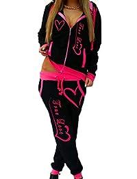 Women's Jogging 2PCS Pants Sweatsuit Outfits Hoodies Front-Zip Tracksuits