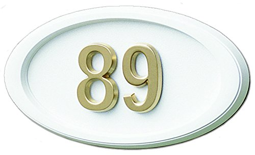 Gaines White Plaque - Gaines Small White Oval HouseMark Address Plaque