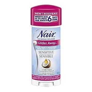 Nair Glides Away Sensitive Formula Hair Remover for Bikini, Arms & Underarms with 100% Natural Coconut Oil plus Vitamin E, 93-g