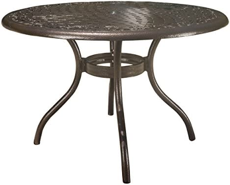 Christopher Knight Home Phoenix Cast Aluminum Round Table, Hammered Bronze