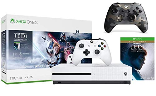 Microsoft Xbox One S 1TB Star Wars Jedi: Fallen Order Bundle + Night Ops Camo Special Edition Wireless Controller | Include:Xbox One S 1TB Console ,Star Wars Jedi: Fallen Order, Wireless Controller