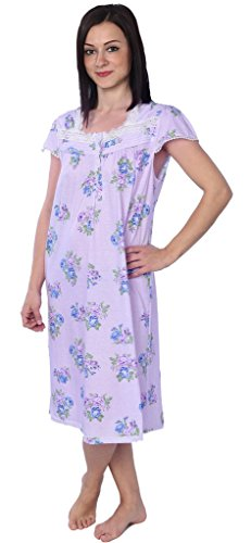 Beverly Rock Women's Floral Print Lace Trim Short Sleeve Nightgown M116 Purple L (Floral Lace Trim)