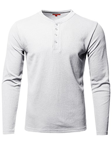 mal Henley Crew Neck Long Sleeve T-Shirt White Size L ()