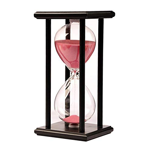 Hourglass Sand Timer-60 Minute Hourglass Wooden Black Stand Hourglass Sand Timer Clock for Office kitchen Decor Home (pink) ()