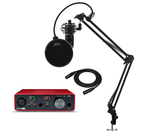 Focusrite Scarlett Solo 3rd Gen USB Audio Interface Bundle with AT2020 Microphone, Knox Gear Studio Stand, XLR Cable, Shock Mount and Pop FIlter (6 Items) from Focusrite