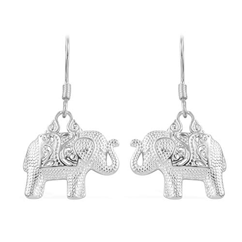 Sterling Silver Elephant Lever Back Earrings 4 g