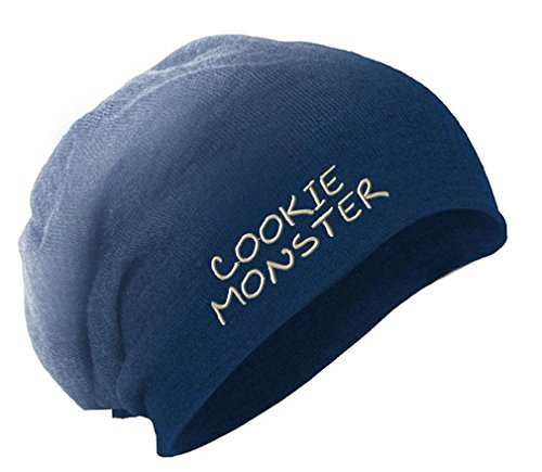 Speedy Pros Cookie Monster Embroidered Unisex Adult Acrylic Slouch Beanie Winter Hat - Navy, One Size (Cookie Monster Winter Hat)