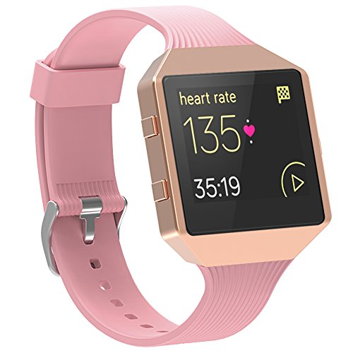 For Fitbit Blaze Band with Frame,SnowCinda Sport Silicone Soft Pink Strap with Rose Gold Stainless Steel Frame for Fitbit Blaze Smart Fitness Watch