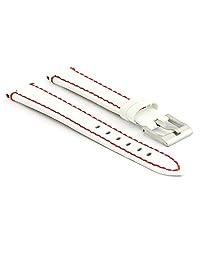StrapsCo White Patent Leather Watch Strap w/ Red Stitching size 14mm