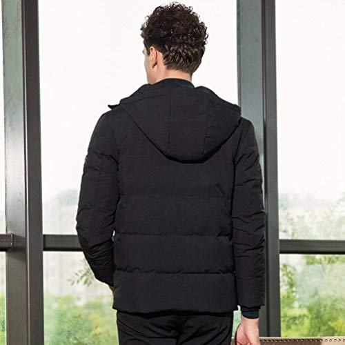 Slim Coat Casual Jacket Hooded Fit Quilted Thickened Warm Winter Coat Apparel Men's Outwear Jacket Schwarz Down 6qAR11g