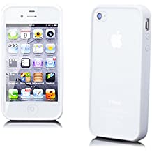 Apple iPhone 4/4S   iCues TPU Rubber Gel Soft Silicone Bumper Case Matt Back White  [Screen Protector Included] Cover Shell Shookproof