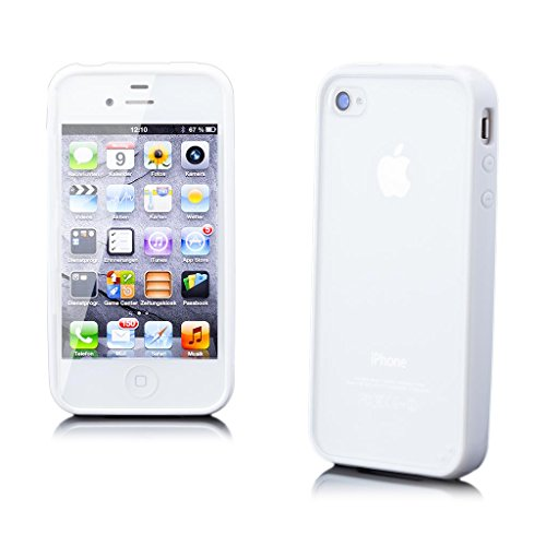 (iCues | Compatible with Apple iPhone 4/4S | TPU Rubber Gel Soft Silicone Bumper Case Matt Back White |[Screen Protector Included] Cover Shell Shookproof )
