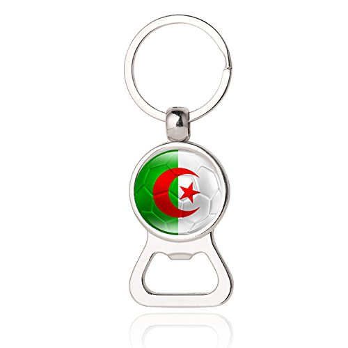 (People's Democratic Republic of Algeria National Flag Football Pattern Photo Printing Bottle Cap Opener Key Chain,Photo Dome Multifunctional Bottle Opener,FIFA Jewelry,Key Ring,Promotional)