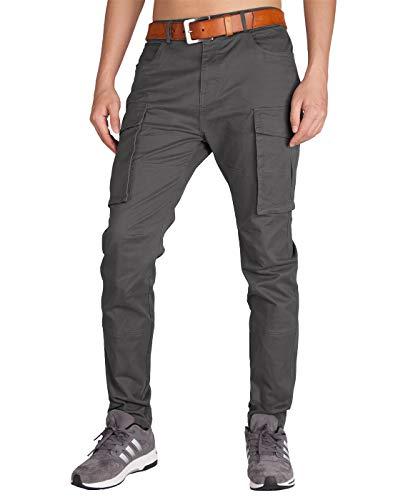 - ITALY MORN Men's Chino Cargo Khaki Casual Pants M Dark Grey