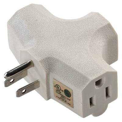 Uninex Int'l PS37UBE Master Electrician Beige Heavy Duty 3 Way Grounded Tri Tap Adapter Plug - Quantity of 96 by Uninex International (Image #1)