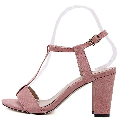AmoonyFashion Womens Buckle Open Toe High Heels Imitated Suede Solid Heeled-Sandals Pink W0Ujt