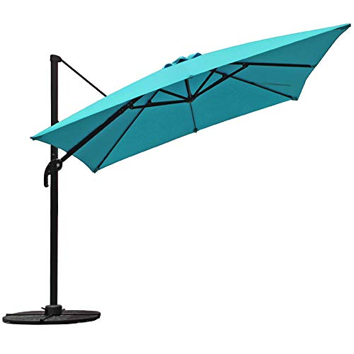 Umbrella Spa - COBANA Offset Rectangular Cantilever Aluminum Patio Umbrella 10 Feet with Cross Base and 360 Degree Rotation, Blue
