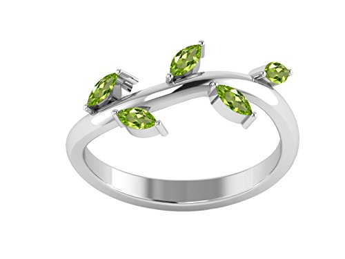 Peridot Gemstone Leaf Design Twisted Women Ring 925 Sterling Silver Jewelry