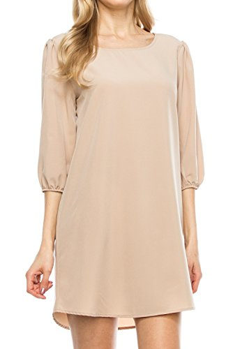 Fall Bishop Dress (KAYLYN KAYDEN KLKD A097 Women's Solid 3/4 Sleeve Boatneck Bishop Shift Dress Made In U.S.A. Taupe Medium)