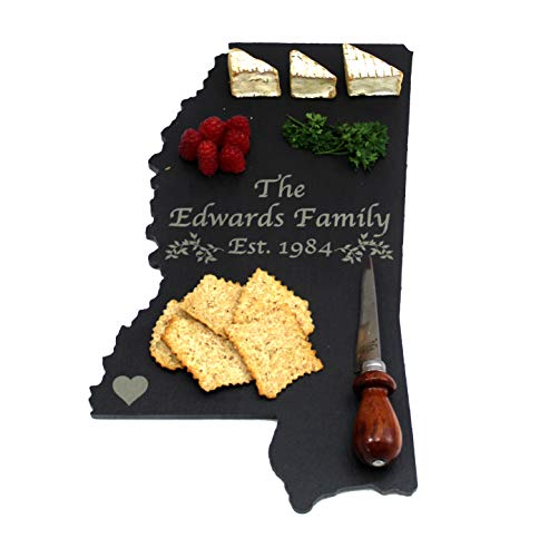 Custom Mississippi Slate Cutting Board, Serving Tray, or Cheese Board- Personalized with Laser Engraving