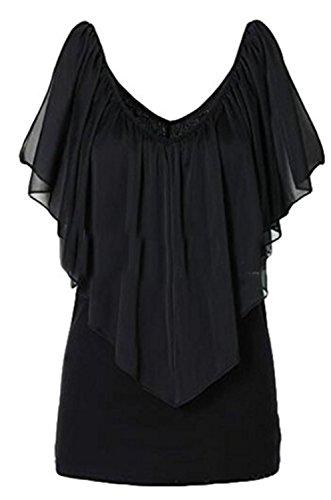 Camiseta Mujeres Verano YOGLY Camisetas de Gasa Casual Color Sólido Cuello Redondo V Cuello Sin Mangas Camisetas Blusas Negro