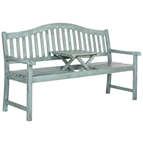 Safavieh Outdoor Collection Mischa Beach House Blue Bench Asian Inspired Wood Bench