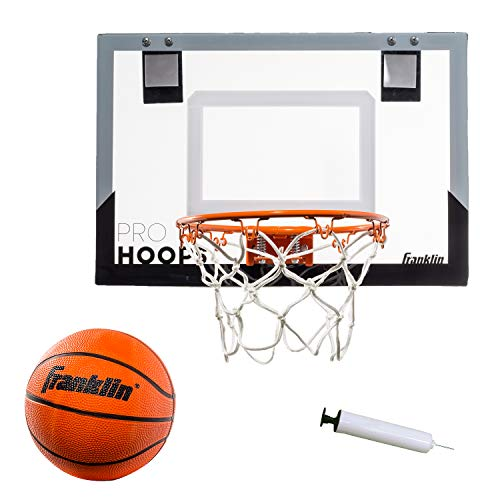 "Franklin Sports Over The Door Mini Basketball Hoop - Slam Dunk Approved - Shatter Resistant - Accessories Included, Standard - 17.75"" x 12"""