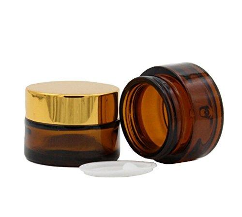 2PCS 50ML Empty Reusable Glass Face Cream Lip Balm Storage C