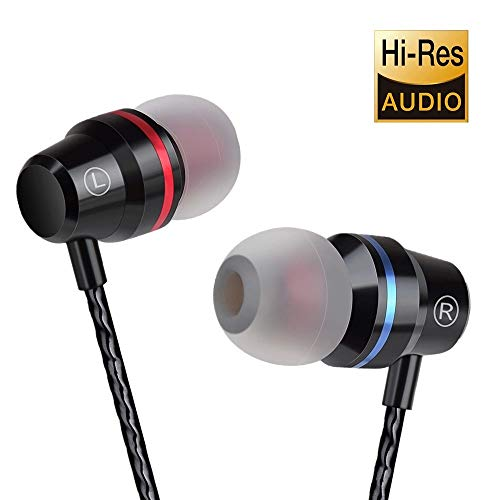 Earbuds Ear Buds in Ear Headphones Wired Earphones with Microphone Mic Stereo and Volume Control Waterproof Metal Wired Earphone for iPhone Samsung Mp3 Players Tablet Laptop 3.5mm (1)