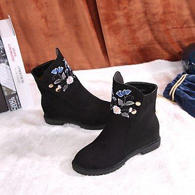 Heart&M Mujer Zapatos Ante Otoño Invierno Botas de Moda Botas Tacón Plano Dedo redondo Flor Para Casual Vestido Negro