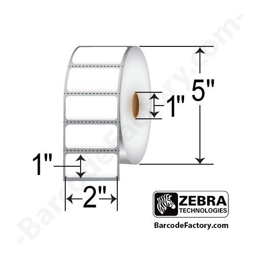 Zebra Technologies 10010028-EA Z-Perform 2000D Paper Label, Direct Thermal, Perforated, 2'' x 1'', 1'' Core, 5'' OD, 2340 Labels per Roll