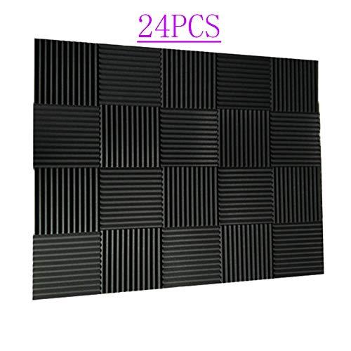 "24 Pack- Charcoal Acoustic Panels Studio Soundproofing Foam Wedges Tiles Fireproof 1"" X 12"" X 12"" (Black)"