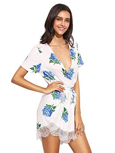 Floerns Women's V Neck Floral Print Short Romper Jumpsuit White Blue S