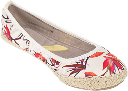 Butterfly Twists Damen Ballerina Gigi Florale Jute Schuhe Ballerina Creme mit floralem Muster