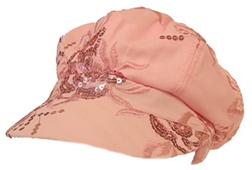 Red Hat Lady Society / Newsboy Cap / Lt. Pink w/ Sequin Floral Patterns