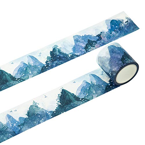RIANCY Multi Purpose Nature Washi Tapes,Mountain Scenery Decorative Masking Tapes,Decor Scrapbooking Sticker Masking Paper,Sticky Paper Tape for Walls, Arts and Crafts,DIY, Scrapbook (Mountain,)
