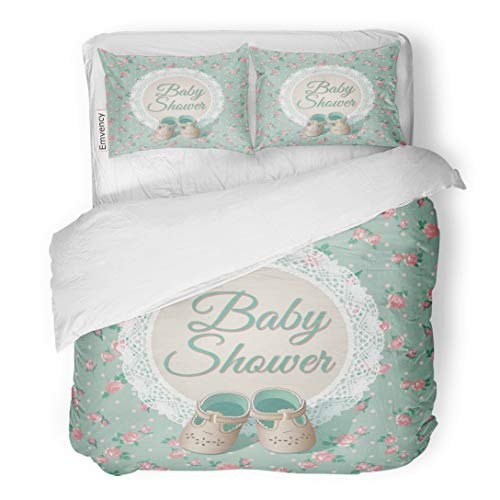 Tarolo Bedding Duvet Cover Set Chic Baby Arrival Place Green Shabby Rose Kids Child Shoes 3 Piece King 104