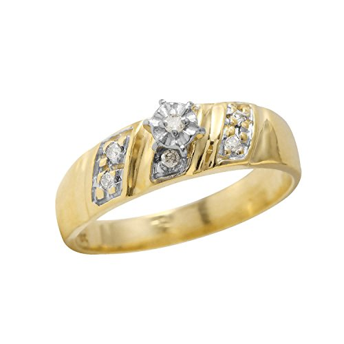 0.12 Carat Natural Diamond 14K Yellow Gold Engagement Ring for Women Size (0.12 Ct Natural)