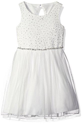 Speechless Little Girls' Sequin Lace Jeweled Waist Glitter Tulle Dress, White, 4 ()