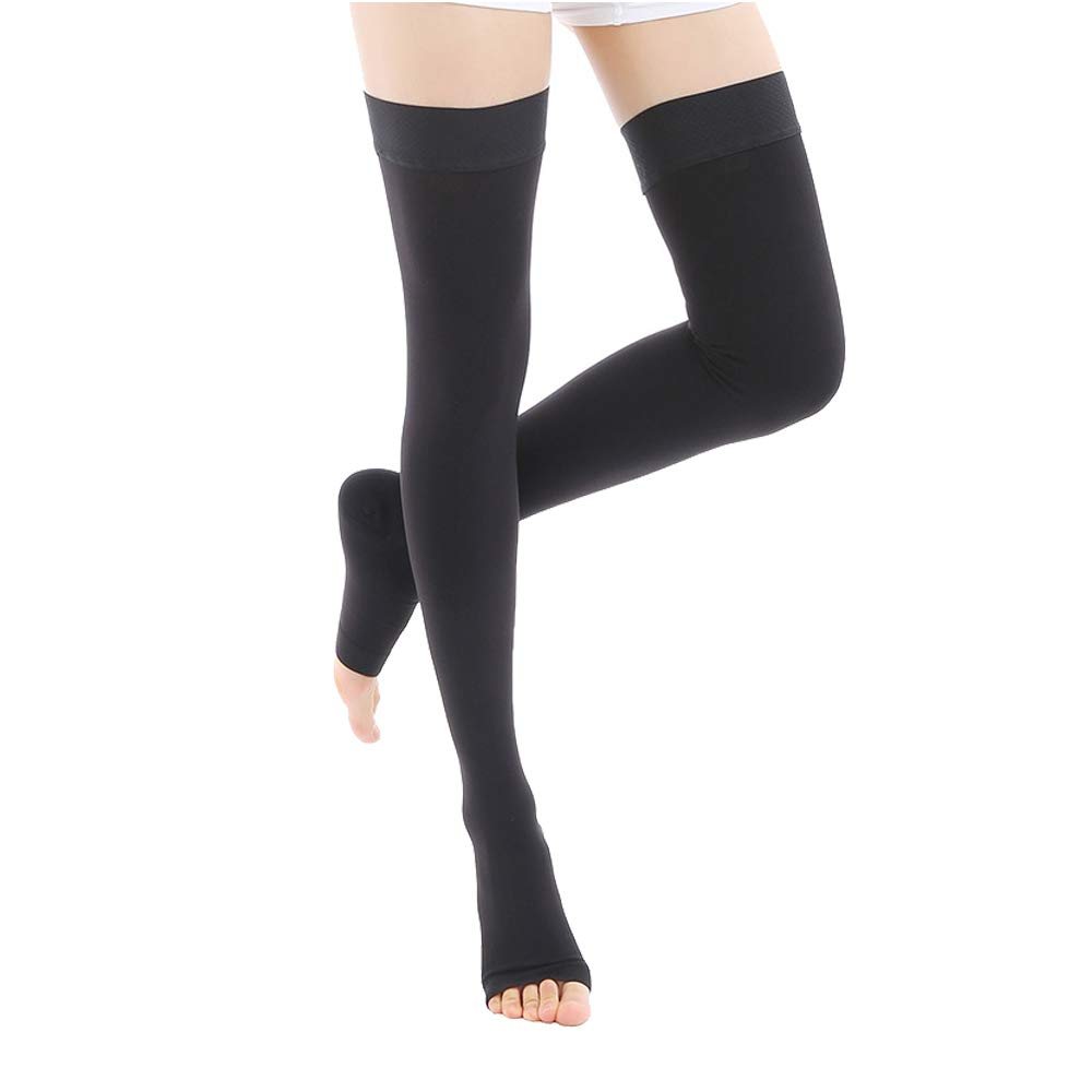 Medical Thigh High Compression Stockings 20-30mmHg, Opaque Open Toe Compression Socks Firm  Support Graduated Compression Hose With Silicone Band Treatment Surgery,Edema,Nursing,Varicose Veins