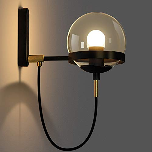 Techecho-lt Up Down Lamp for Bedroom Corridor Stairs Bathroom Appliques Postmodern Restaurant Retro Cognac Circular Glass Wall Lamp Gold Crystal Ball (Color: Gold) (Color : Black, Size : Free Size) (Sets Furniture Conservatory Uk)