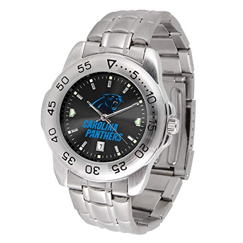 Game Time NFL Carolina Panthers Mens Sport SteelWrist Watch, Team Color, One Size ()