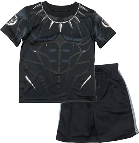 Marvel Avengers Black Panther Little Boys' Athletic T-Shirt & Mesh Shorts Set, Black/Silver (6)